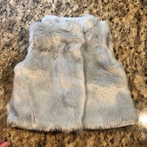EUC girls 12 month faux fur vest